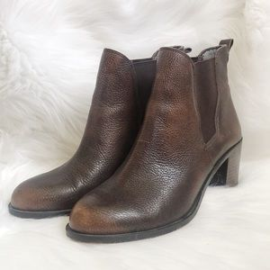 Sam Edelman Stacked Ankle Boots Ombré Toe Leather